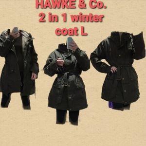 HAWKE & Co. Military long 2 in 1 winter coat L